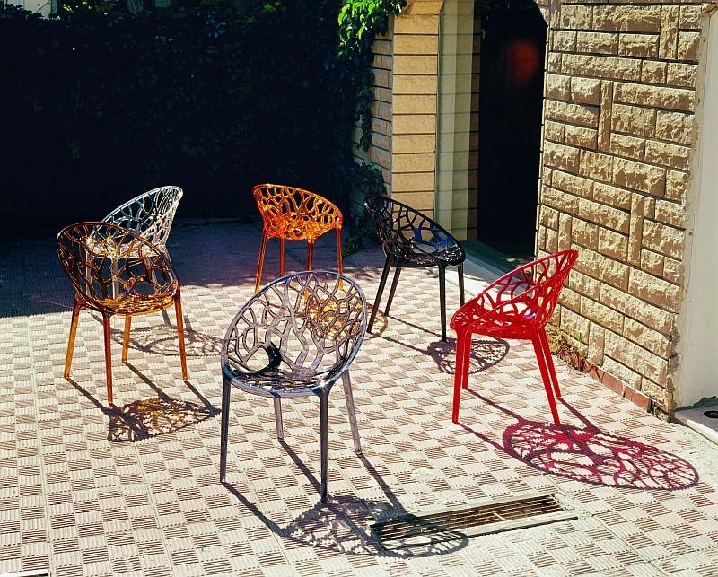 Kunststof terras stoel crystal in polycarbonaat design